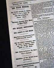 Peace Mission Francis P. Blair Returns & Cornith Ms 1865 Civil War Ny Newspaper