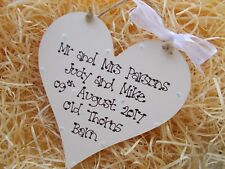 Vintage Style Mr and Mrs Wedding Heart Plaque Gift
