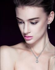 18K White Gold P  Necklace Earrings Set Made With Swarovski Crystals Bridal