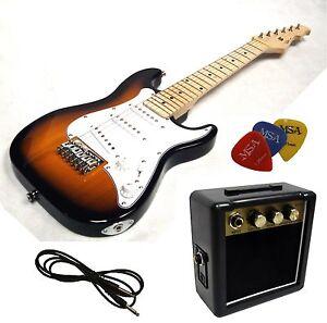 E-Gitarre für Kinder Mini 78cm - sunburst + Verstärker MA05 + 3Pik + Style 1