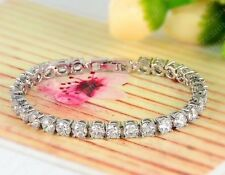 Tennis Bracelet Platinum Plated Cubic Zirconia Bangle Clear Austrian Crystals
