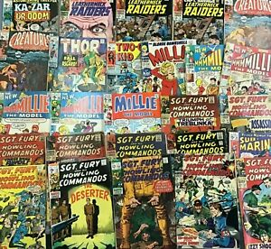 LOT of 26 Marvel Silver Age Comics SGT Fury Astonishing Tales Millie CAPT Savage