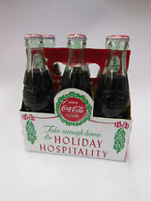 "vintage Coca Cola six pack Bottles with Caddy "" Holiday Hospitality "" classic"