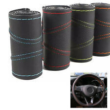 Universal Leather DIY Car Steering Wheel Cover Auto Protection Needle 38cm