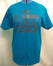 New Hanes Womens Blue Gray Graphic Jeep Girl Big Dog T-Shirt Size L