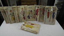 9 Vintage 1960's Simplicity Patterns Sz 10 to 18  Complete but 2 No Instructions