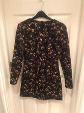 ZARA Black Long Sleeve Floral Mini Dres Size S
