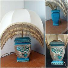 Lampe XIXeme bleu THEODORE DECK decor asie , abat-jour perlé