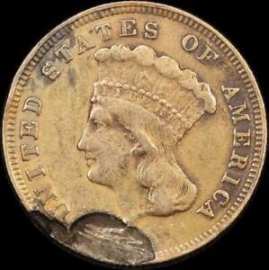 United States 1855 Gold 3 Dollars Impaired good Fine