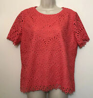 NWT Tahari Arthur Levine Shirt Size 12 Red Kint Lined Short Sleeve Top
