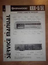 Kenwood Service Manual~KRX-5/5L Cassette Receiver~Original Repair