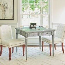 Neo Classical Modern Gray Wood Game Table   Drawer Bistro Textured Antique Style