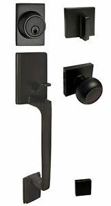 Matte Black Square Plate door locks Knobs Keyed entry privacy passage deadbolt