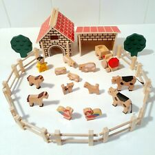 Toy Wooden Farm Play Set - Barnhouse, Shed & Tractor, Farm Animals, Trees Fences