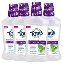 4 Toms Of Maine Whole Care Natural Fluoride Mouthwash Fresh Mint 16 oz (No Seal)