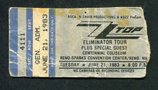 1983 Zz Top Quiet Riot concert ticket stub Reno Nevada Eliminator Tour