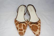 Ralph Lauren Calf Hair Size 8 B Leather Rebeka Animal Print Kitten Heels Sandals