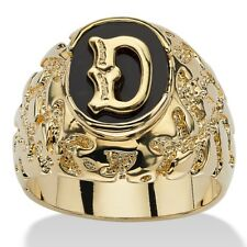 14K GOLD ONYX LETTER D  INITIAL NUGGET RING SIZE GP 8 9 10 11 12 13