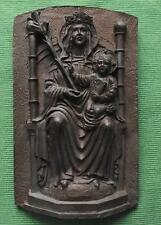 c1900 Madonna & Child Detailed Ceramic Bronze Coloured Icon Plaque