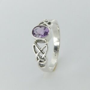 Size 8 1/2 - Size 8.5 Purple Celtic Oval AMETHYST Ring 925 STERLING SILVER #57