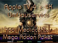 Apple TV 4K + 4  Kodi 17.6 TOPUMBAU + Mega-Addon-Paket 600 + Webbrowser App.