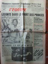 L'Equipe du 3/6/1985 - Leconte a battu Noah - Bazzo - Acariès - Foot : Rouen