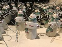 "Personalized Ganz Ceramic Angel Snowman W/ Green Scarf & Glitter 2"" Ornament NEW"