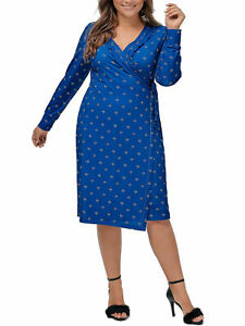 Wrap Kleid Strandkleid Sommerkleid Maxikleid Ellos blau Gr. 50/52 Neu