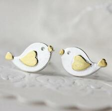 925 Silver Plated Simple Lover Heart Couple Bird Women All_match Stud Earrings