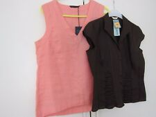TWO M&S SLEEVELESS LINEN BLOUSES SIZE 10 BROWN & SALMON