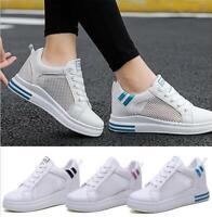 Fashion Women's Mesh Walking Hidden Wedge Heel Shoes Lace Up Platform Sneakers