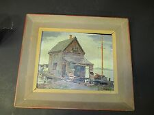 VINTAGE KEN GORE OIL ON BOARD - LAKESIDE SHACK