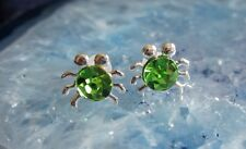 Ear Studs Silver Crab Crab Spider Insect Crabby Crystal Bright Green