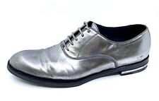 Vtg  ALEXANDER McQUEEN Tarnished SIlver Leather Lace Up  Shoes 41.5 EU Pre-Death