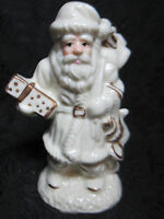 Santa Clause Christmas Figurine Ornament Decoration Holiday Ivory w/Gold Trim