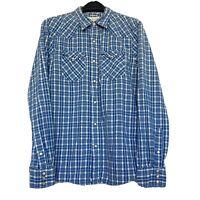 Ralph Lauren Denim & Supply Men's Large Slim Western Pearl Snap Plaid Shirt Blue