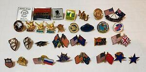 31 Piece Miscellaneous Lot of Lapel Pins Flags Eagle ETC