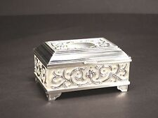 Medium Rectangular Silver & Pearl Color Jewellery Trinket  Chest / Box #512