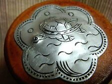 Tiny Round Wooden Box w/ Etched Metal Turtle Design Top