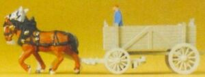PREISER MODELS N HORSE DRAWN BOX WAGON W/MAN | 79475
