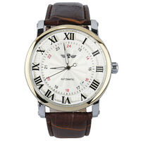 winner Unisex Mens Women Automatic Self-winding Movt Wrist Watch Leather Band BT