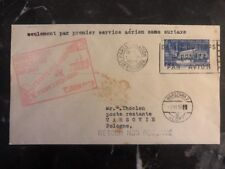 1939 Paris France Cover To Warsaw Poland  First Airmail Service Without Tax