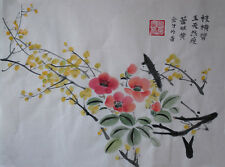 Oridental art Hand Paint Chinese  watercolor painting yellow plum blossom signed