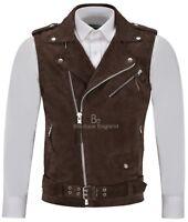 Men's Brando Brown Suede Waistcoat Motorcycle Biker Style STEAMPUNK Leather 1025