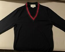 Gucci Wool V-Neck Sweater with Web S