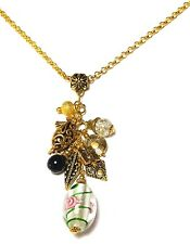 """Long Chain 30"""" Gold Chandelier Cluster Necklace White Pink Statement Pendant"""