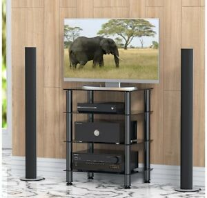 Rfiver 4-Tier Black Glass Audio Video Tower for TV, Xbox, Gaming Consoles,