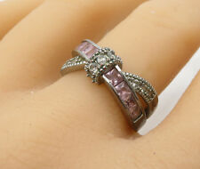 925 Silver - Vintage Pink Topaz & White Cubic Zirconia Band Ring Sz 10 - R3062