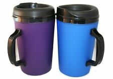 2 ThermoServ Foam Insulated Coffee Mugs 34 oz (1) Purple & (1) Blue, New, Free S