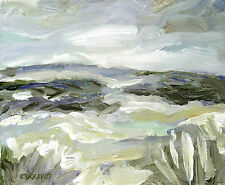 Yorkshire Moors ORIGINAL ACRYLIC LANDSCAPE PAINTING Windswept Sky Steve Greaves